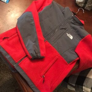 Red north face jacket EUC